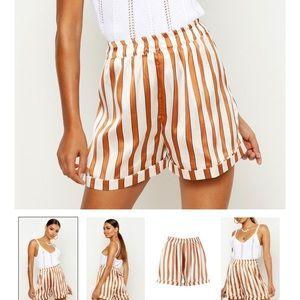 Striped Satin Turn Up Shorts